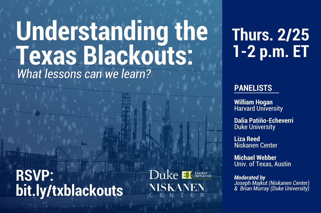 Energy production facility sits in the background with snow falling around it. Duke EI and Niskanen logos sit to the right of the RSVP link. Text: Understanding the Texas Blackouts: What lessons can we learn? Thursday 2/25 1-2 p.m. ET. Panelists: William Hogan, Harvard University. Dalia Patino-Echeverri, Duke University. Liza Reed, Niskanen Center. Michael Webber, Uni Texas Austin. Moderated by: Joseph Majkut (Niskanen Center) & Brian Murray (Duke University)