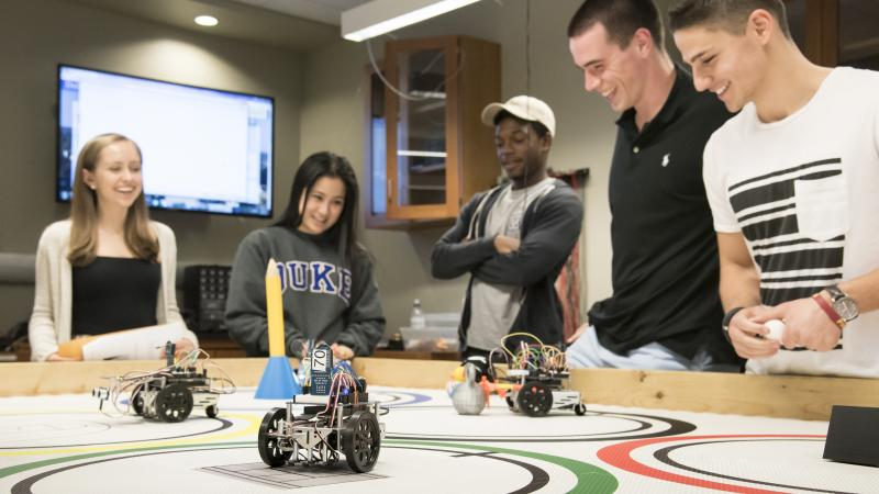 Undergraduate students participate in the robot olympics competition