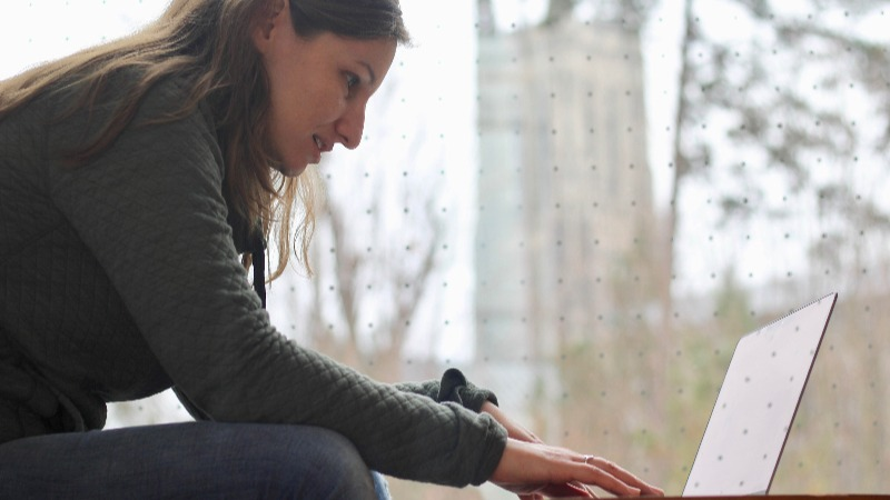Tamara Silbergleit Lehman at computer