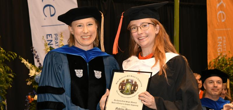 2019 Bachelor of Science in Engineering (BSE) Diploma Ceremony; Lisa Huettel, Madeline Briere E'19