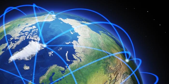 illustration of networking around the globe