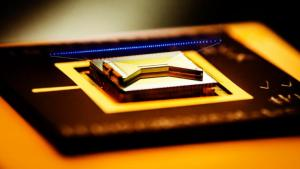 closeup view of a surface ion trap used in quantum computing technology