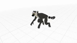 screenshot of animated lemur from virtual reality app
