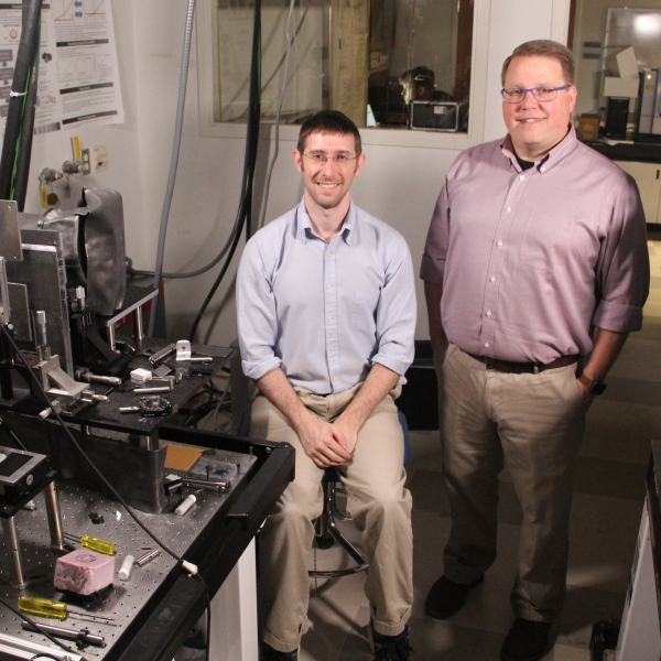 Joel Greenberg and Michael Gehm in their lab
