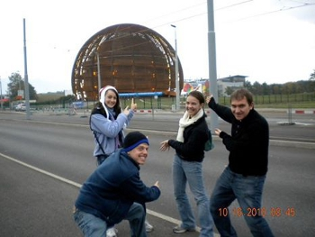 Katrina Wisdom, Kevin Lieberman, Amanda Britt and their friend Curtis) While studying in France, Britt, Kevin, and Wisdom visited the international physics research center CERN, and were shown the facilities by the Duke physics group working there.