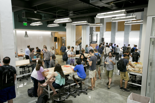 The cavernous main room of The Foundry provides ample space for student teams to meet. The space originally housed large utilities for the former chemistry building.