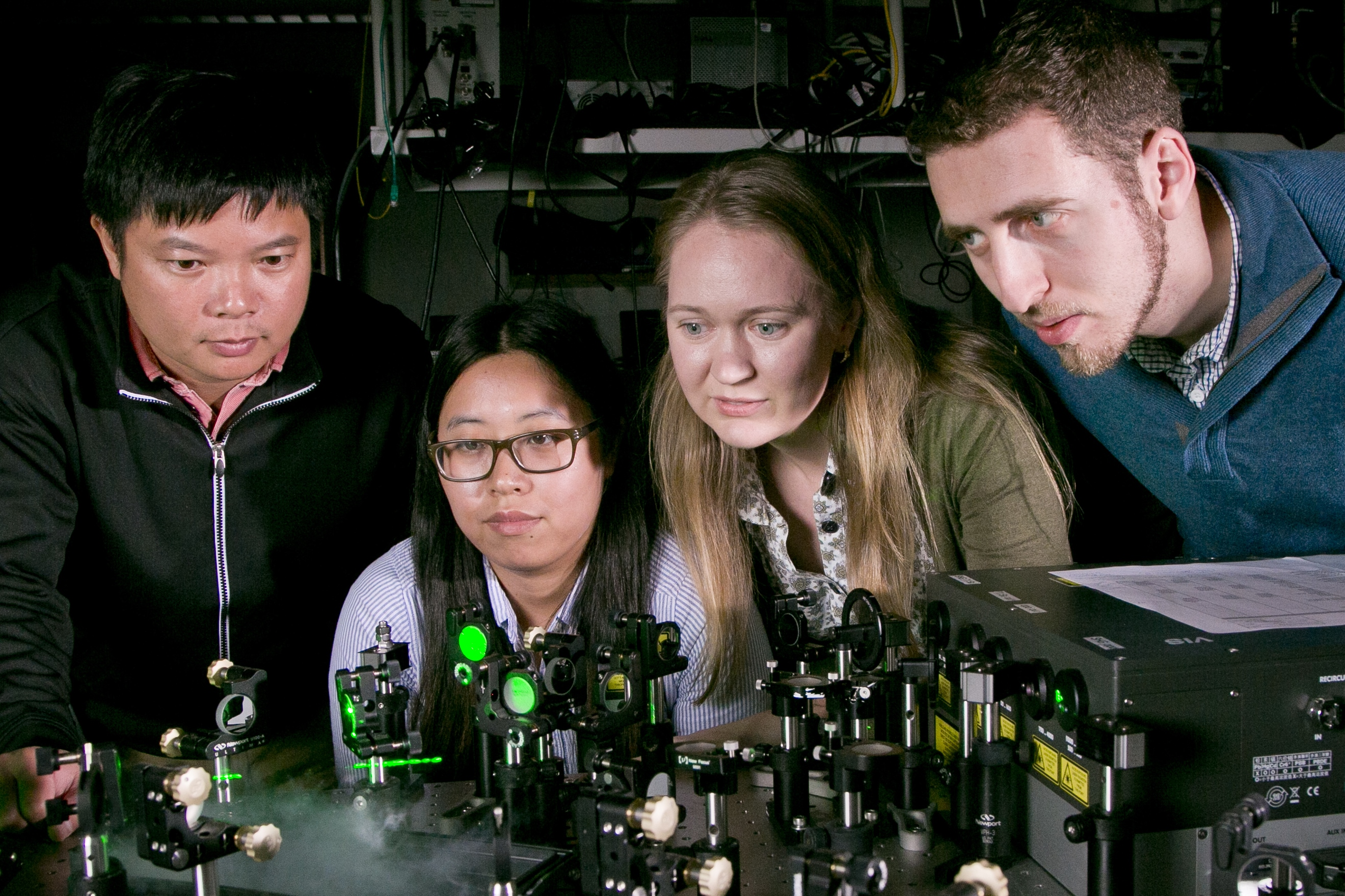 From left to right - Thang Hoang, postdoctoral researcher; Jiani Huang, graduate student; Maiken Mikkelsen, professor of electrical and computer engineering and physics; Gleb Akselrod, postdoctoral researcher