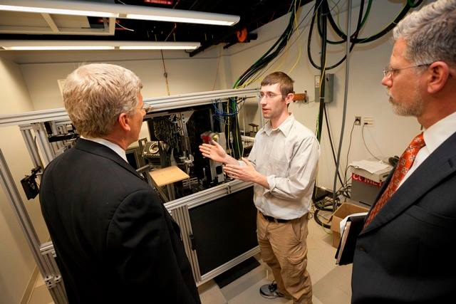 In the laboratory of ECE professor David Brad's lab, Dan Poneman learns about a new type of X-ray scanning device.