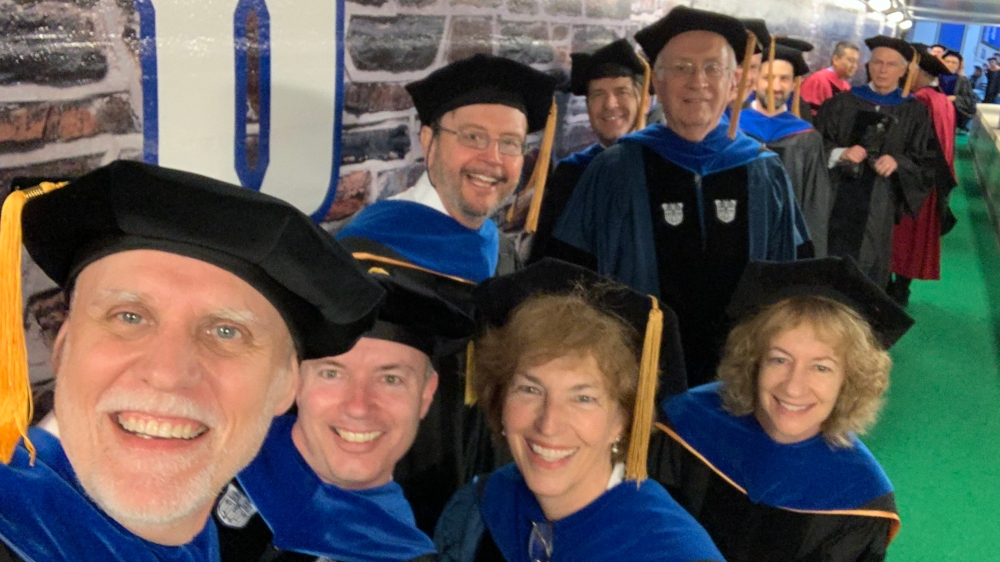 Duke Engineering faculty selfie, Commencement 2019